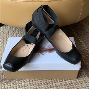 Jessica Simpson black ankle strap ballet flats